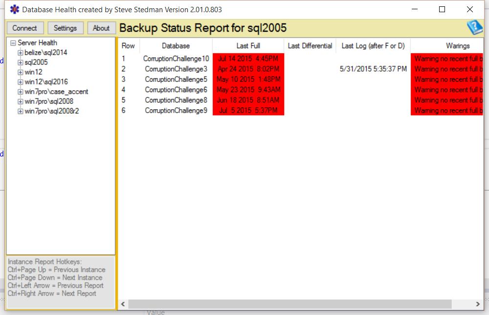 Backup Status Report Bad